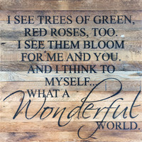 What A Wonderful World ... Oversized Reclaimed Repurposed Wood Wall Decor Art - 28-in x 28-in