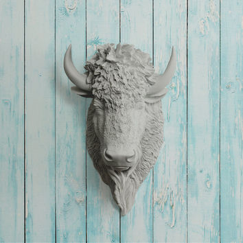 The Yellowstone Gray Faux Bison Head