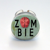 Round Glass Bezel Ring Zombie Adjustable Zombie Ring (A3491R)