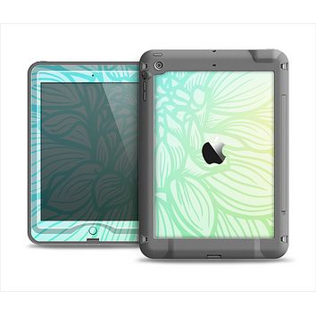 The Faded Blue & Green Subtle Floral Apple iPad Mini LifeProof Nuud Case Skin Set