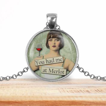 Retro girl wine pendant necklace, You had me at Merlot, choice of silver or bronze, key ring option