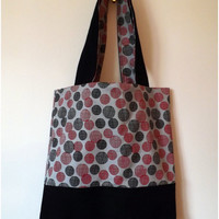 Red and Black Circle Denim Tote Bag