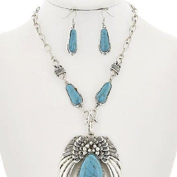 Angel Wing Turquoise Stone Necklace