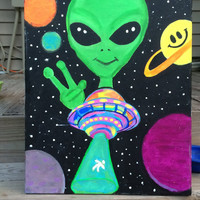 Alien UFO Painting - 16x20 Canvas