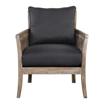 Encore Dark Gray Wood Framed Accent Chair by Uttermost