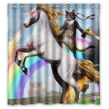 Ninja Cat Unicorn Shower Curtain