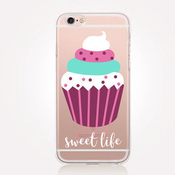 Transparent Cupcake iPhone Case - Transparent Case - Clear Case - Transparent iPhone 6 - Gel Case - Soft TPU Case - Samsung S7