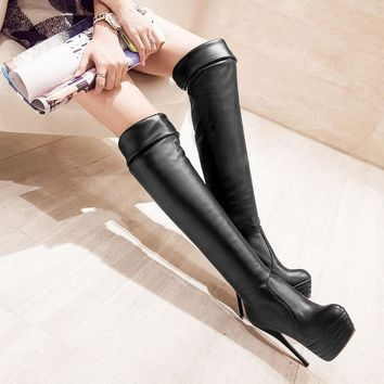 Over Knee High Heel Platform Boots