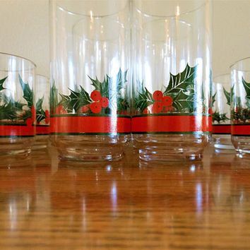 14 Libbey Christmas Tumbles, Libbey Holly and Berries Glasses, Holly and Berry Tumblers, Lot of Christmas Glasses, Libbey Mistletoe Glasses