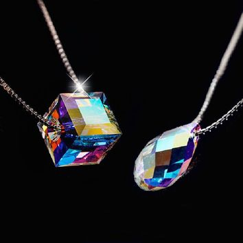 Stylish Jewelry New Arrival Gift Shiny 925 Silver Crystal Lock Pendant Korean Accessory Necklace [8080535047]