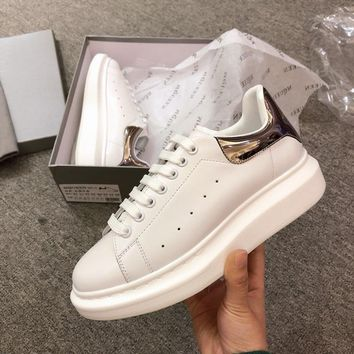 Alexander Mcqueen's world-class classic leather casual shoes watermelon silver mirror