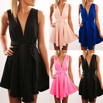 Open Back Sleeveless Solid V-neck Short High-waist Dresses