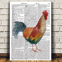 Bird print Rooster decor Animal poster Dictionary print RTA1792