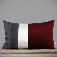 Silk Colorblock Pillow by Jillian Rene Decor - Merlot, Cream and Gray