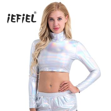 iEFiEL 4 Colors Sexy Club Tees for Women Shiny Patent Leather Long Sleeve Slim Fit Mock Neck Turtleneck Crop Top Costume Party