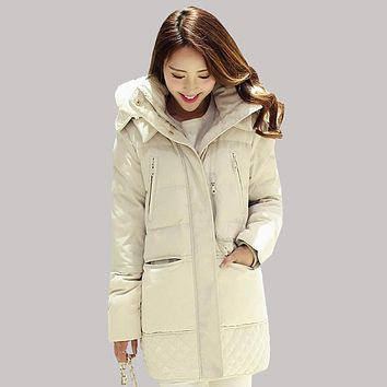 2015 Women Winter Jacket Fitted Military Warm Jackets Female Large Size Thick Long Duck Down Coat Slim Fashion Parkas L0004