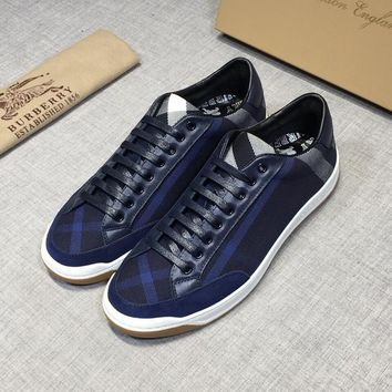 Burberry Men House Check Leather Low-Top Navy Sneakers - Best Deal Online