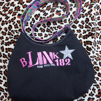 BLINK 182 - Upcycled Rock Band T-shirt Purse - OOAK