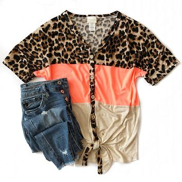 Neon Coral and Leopard Button Down Tie Top