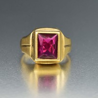 Classic Gold and Ruby Art Deco Signet Ring