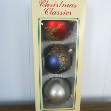 Vintage Christmas Ornaments Large Glass Set of by houseofheirlooms