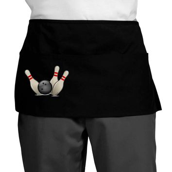 Bowling Ball with Pins Dark Adult Mini Waist Apron, Server Apron