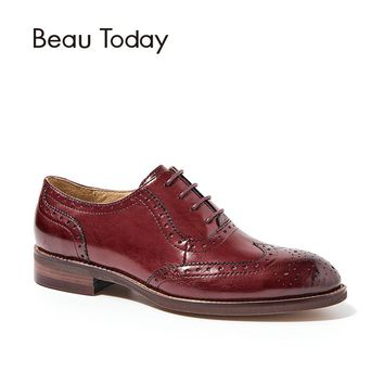 BeauToday Wingtip Oxfords Women Genuine Leather Flats Fashion Lace-Up Pointed Toe Calfskin Lady Brogue Shoes Handmade 21094