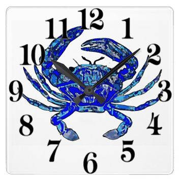 Aqua & Blue Crab Coastal Beach Clock With Numbers