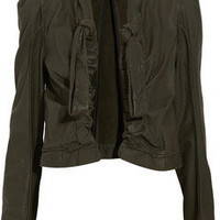 Marni Ruched cropped leather jacket - 60% Off Now at THE OUTNET