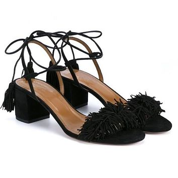 Shoes Woman Sheepskin Gladiator Sandals Women Summer Lace Up Sandals Thick Heels Fringe Genuine Leather Women Sandals