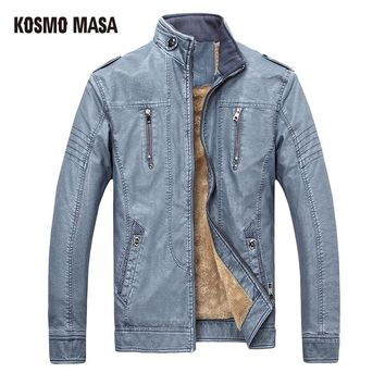 KOSMO MASA 2017 Faux Fur PU leather Jacket for Men Hip Hop Mens Turkey Motorcycle Bikers Slim Black Fit Skin XXXL Jackets FL0011