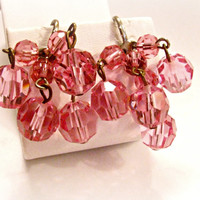 Art Deco Earrings, Faceted Pink Cha-Cha Beads, Dangles, Screw Back