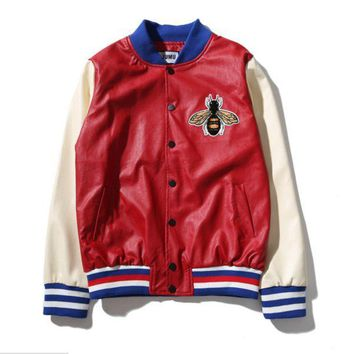 PEAPUF3 Gucci Fashion Bee Embroider Zipper Cardigan Sweatshirt Jacket Coat Sportswear