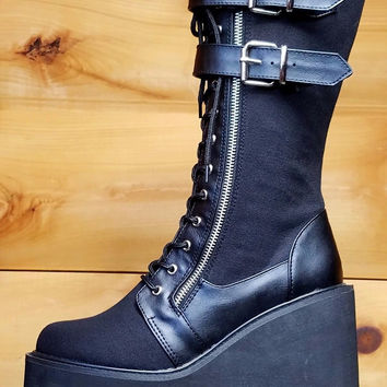 "Demonia Swing 221 Black Canvas Goth Punk Calf Boot 5.5"" Platform Vegan"