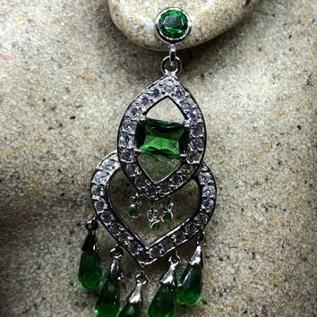 Green quartz and Crystal Sterling Silver Vintage Chadelier earrings