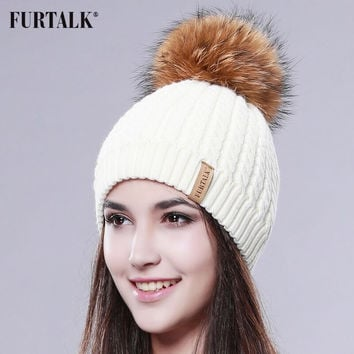 2016 Furtalk  Real Fur Hat Double Lining Real Big  Raccoon  Pom Pom Hat Women Winter Hat