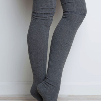 Miss You Thigh High Socks - Gray