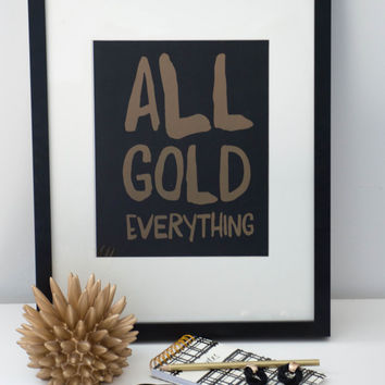 PRINTABLE art // gold print, fashion quote, quote poster, gold quote, gold foil, quote poster, gold print, kate spade, gold poster, gold art
