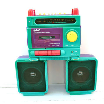 Vintage Boom Box Stereo - 1980's Alaron KoolShades AM/FM Radio, Cassette Player & Recorder with Portable Speakers