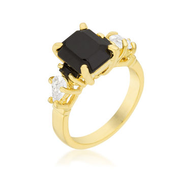 Helanna Black Onyx Three Stone 18k Gold Cocktail Ring  | 5ct | Cubic Zirconia | 18k Gold