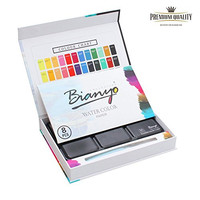 Bianyo 36 Watercolor Paint Set ( With Small Size Water Brush,8 Pieces Watercolor Paper,36 Paint Cakes in A Tin Metal Case)