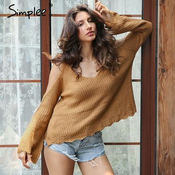 Simplee Cold shoulder cut out knitted sweater women Sexy v neck strap flare sleeve jumper Loose pull streetwear pullover female