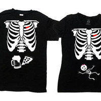 Matching Halloween Couple T Shirts Skeleton Costume Pregnancy Announcement Expecting Mom New Dad Gifts Beer Skeleton TShirt - SA845-379