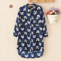 Blue Chiffon Cat Blouse