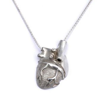 Silver Half Heart Dorsal View by PeggySkempJewelry on Etsy