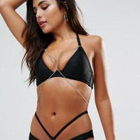Wolf & Whistle Plunge Bikini With Exposed Cradle & Chain at asos.com