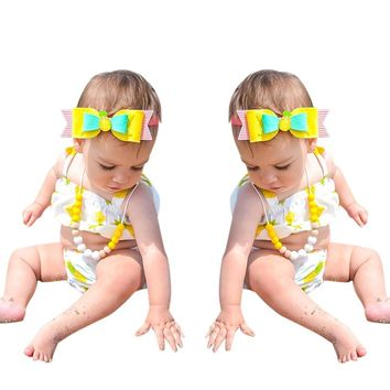 Cute Newborn Baby Girl Clothes Swimming Pineapple printing Ruffle Swimsuit Two Pieces bebe swimwear Child stroller vestidos