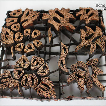 Batik Stamp Indonesian Textile Batik Copper Tjap,Hand Stamping Chop, Printing Block Flower Design Stempel,Antique Vintage Wall Decor (#12)