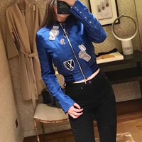 Louis Vuitton Long Sleeve Casual Edgy Women Embroidery Pattern Zip Round Neck Cortex Jacket
