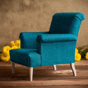 "1/4 scale Doll Chair with Teal Linen Upholstery, Playscale Furniture for MSD-size BJD's, 16""-18"" dolls, Doll furniture, Doll armchair"